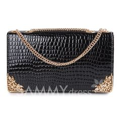 $10.00 Elegant Women's Shoulder Bag With Metallic and Chains Design