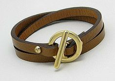 Brown Leather Wrap Bracelet with Gold Toggle Clasp Silverbox Jewelry. $10.08. Fits approx 7 inch wrist. Brown leather wrap bracelet