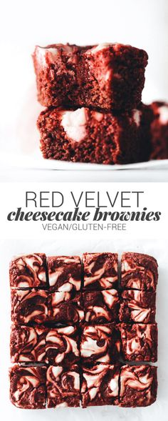 Red Velvet Cheesecake Brownies (vegan + gluten-free) | Feasting on Fruit