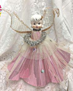 "VINTAGE 50'S PORCELAIN HEAD ANGEL CHRISTMAS TREE TOPPER "" Rare"""