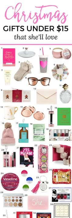 The best Christmas gift ideas for women under $15! You won't want to miss this adorable Christmas gift guide for women created by Florida beauty and fashion blogger Ashley Brooke Nicholas. She's guaranteed to love every affordable Christmas gift idea on this list! via @ashleynicholas