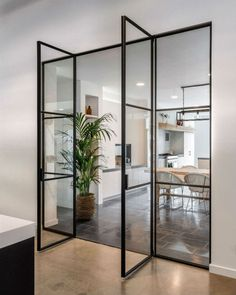 Black steel doors - Home Deco Design, Design Case, Style At Home, Home Interior Design, Interior Architecture, Interior Ideas, Black Doors, Steel Doors, Living Room Kitchen
