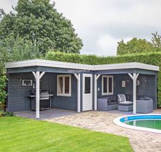 A wooden summer house in your garden? ✅ Decades of experience in garden summer houses. ✅ Design your own summer house now with our Summer House Garden, Home And Garden, Summer Houses, Garden Cabins, Garden Sheds, Garden Office, Garden Spaces, Terrace Garden, Pergola Designs