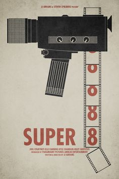 Super 8 ~ Minimal Movie Poster by Brock Weaver Best Movie Posters, Minimal Movie Posters, Minimal Poster, Cinema Posters, Movie Poster Art, Cool Posters, Music Posters, Amblin Entertainment, Alternative Movie Posters