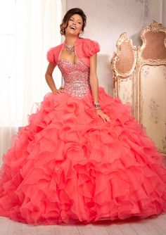 quinceanera dress from Vizcaya by Mori Lee Style 88089 All Over Beaded Bodice on a Ruffled Organza Skirt