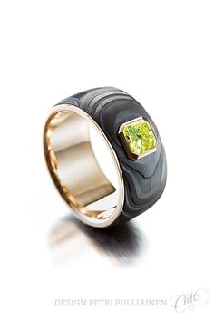 Black plasmadiamond coating on Damascus steel, yellow gold, fancy yellow square radiant diamond. Wedding Ring Designs, Wedding Rings, Institute Of Design, Damascus Steel, Gentleman Style, Helsinki, Petra, Different Colors, Rings For Men