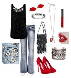 """""""Red Lips"""" by srose38 ❤ liked on Polyvore featuring Miss Me, AllSaints, Miu Miu, Rebecca Minkoff, DANNIJO, Sweet & Co., Lulu Guinness, Ellis Faas, NARS Cosmetics and women's clothing"""