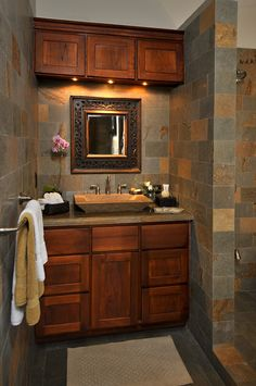 Wooden and Cool Dressing Mirror in Bathroom at  Your Luxury Dream Home for Holiday in Costa Rica - Casa Big Sur with Balinese-Style