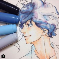 COPIC pens have been used to colour this piece of art. They're really good for colour blending but a bit pricy. Copic Kunst, Arte Copic, Copic Art, Copic Sketch, Amazing Drawings, Beautiful Drawings, Art Drawings, Manga Anime, Anime Art