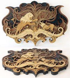 Wonderfully Intricate Laser Cut Wood Art