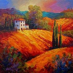 Tuscan Evening Glow by Marion Rose Acrylic ~ 18 x 18