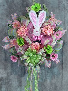 Deco Mesh Easter Bunny Wreath Easter by SouthernCharmFlorals