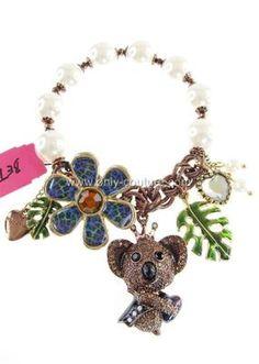 Betsey Johnson 'Asian Jungle' Koala Bear Glass-Pearl Brown Stretch Bracelet