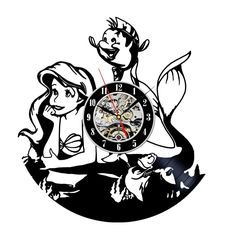 Little Mermaid clock made out of a Vinyl Record