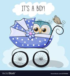 Greeting card it is a boy with baby carriage and cute owl Cartoon Birds, Cartoon Boy, Bird Doodle, Owl Png, Owl Vector, Blue Nose Friends, Paper Owls, Owl Family, Baby Journal