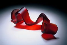 Christine Cathie 'Ribbon - red' (cast Gaffer glass sculpture)