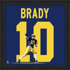 Tom Brady, University of Michigan Wolverines Framed photographic representation of the player's jersey Detroit Lions Football, Michigan Wolverines Football, Nfl Football, College Football, American Football, Tom Brady Michigan, Michigan Game, Tom And Gisele, Framed Jersey
