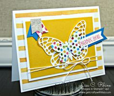 Get Crafty with Lisa:  From Basic to BAM! Dots 'n Stripes Butterfly.  This thank you card features Stampin' Up!'s Lots of Thanks Stamp Set and Butterflies Thinlits Dies, by Lisa Rhine, www.getcraftywithlisa.com