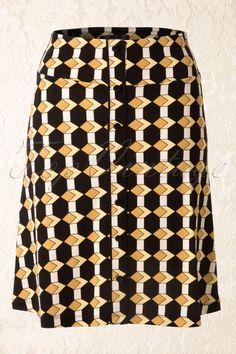 King Louie - 60s Retro Button Illusion Skirt in Mustard