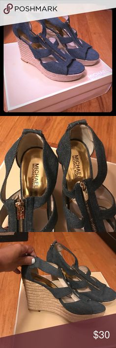 ❤️Michael Kors jean color wedge sandals ❤️ Adorable blue jean color with zipper wedge sandal . I've only worn these a handful of times . They are still in very good condition. Small mark on inside of left sandal. They look adorable with a cute summer dress! All reasonable offers considered ... Michael Kors Shoes Wedges
