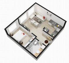 Um apartamento com decoração escandinava e uma linda parede de cimento queimado! É muito amor e charme para um apartamento tão pequeno. São apenas 37m² div