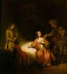 Le tableau de Rembrandt, Joseph accusé par la femme de Putiphar, composé en 1665, offre quant à lui une scène immobile. Nous voici à nouveau dans la chambre des époux, et c'est ici que le lit conjugal est le plus visible. La femme de Putiphar s'y trouve assise, dans l'attitude de rapporter à son mari, à droite de la scène et debout, que Joseph a tenté de la séduire.