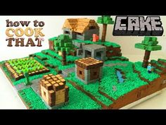 How To: Minecraft Cake Village This creative and massive cake can surprise anyone by its uniqueness and beautiful artistry. Don't get intimidated if you're planning to create one. This is bringing … Minecraft Farmen, Amazing Minecraft, Creative Desserts, Creative Cakes, Cake Pops, Minecraft Birthday Cake, S Videos, Cake Templates, Cake Youtube
