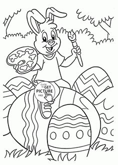 easter bunny painting eggs coloring page for kids easter coloring pages printables free wuppsy