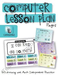Computer Lab Lesson Plan Pages Bundle (1st Quarter) from KindergartenWorks on TeachersNotebook.com (19 pages)  - Kindergarten computer lesson plans ready to go! First quarter (9 weeks) $6.00