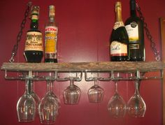 Wall-Mounted Barn Wood Wine Glass Rack and Shelf - Gorgeous, Vintage Piece of Oak Barn Floor from PA Barn - $85