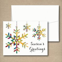 Holiday cards with snowflake design www.soireepaper.co - $15.00 for a set of 12 #holidaycards #christmascards #snowflake