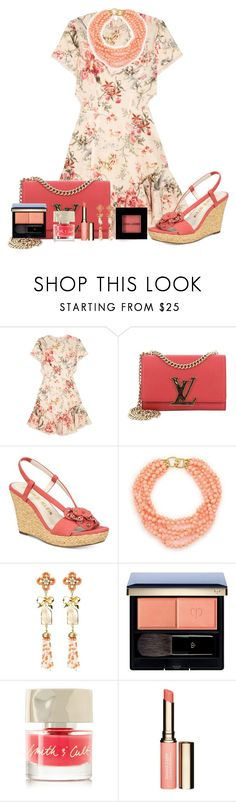 """""""Zimmermann Mercer Lace-up Floral Print Mini Dress"""" by akgsteeler ❤ liked on Polyvore featuring Zimmermann, Louis Vuitton, Anne Klein, Kenneth Jay Lane, Clé de Peau Beauté, Smith & Cult, Clarins and Bobbi Brown Cosmetics"""