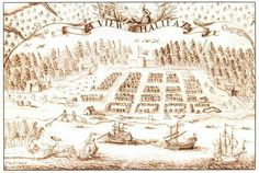Sepia ink drawing of Halifax, as seen from above. Shown is the harbour, town and surrounding forest. 1750.