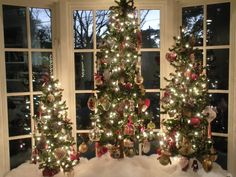 3 trees in a bay window - Bay Window Decorations For Christmas