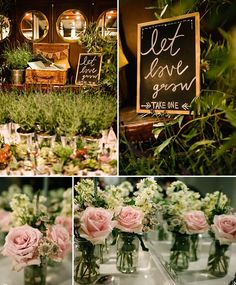 Favour table - let love grow Flowers by Eileen Ting Photography by Lily Sawyer Growing Flowers, City Chic, Favors, Lily, Let It Be, Rustic, Table Decorations, Photography, Wedding