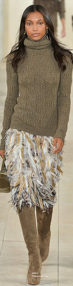The shirt is nice but the skirt looks like numerous birds exploded on her.