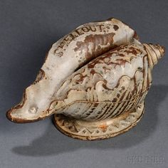 """Cast Iron """"Shell Out"""" Shell-form Still Bank Penny Bank, Shell Game, House By The Sea, Vintage Nautical, Antique Shops, Vintage Toys, Crafts To Make, Sea Shells, Cast Iron"""
