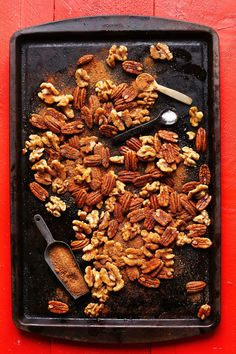 EASY Candied Roasted Nuts! 1 Pan, no bowl required. SO easy + delicious! #holiday #gift #recipe #nuts