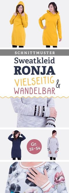 """Schnittmuster Sweatkleid """"Ronja"""" (Größe 32 bis 54) - mit vielen Varianten: Kapuze, Ausschnitt, Seitenteile, Leistentaschen beliebig kombinieren und neues Lieblinskleid selbernähen! Mit Video-Nähanleitung"""