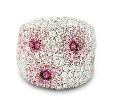 Palmiero Diamond & Pink Sapphire 18k White Gold Ring