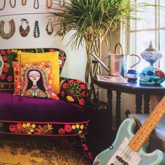 home. Bohemian Style, Palette, Warm, Chair, House Styles, Hot, Interior, Places, Pink