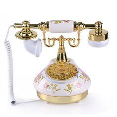 LNC White Rose Flower Ceramic LNC Retro Vintage Antique Style Rural Rotary Dial Desk Telephone Phone Home Living Room Decor