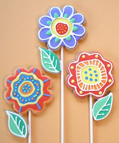 Flower Doodle Sugar Cookies...so cute...