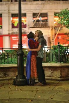 """""""After they finished kissing, she took off her blue cape and laid it over a woman sleeping on a nearby bench. It was such a poetic moment, I actually chased them down to fact-check. 'Excuse me. Was that your blue blanket?' 'Yes.' 'And you just gave it to her?' 'Yes, why?' """" - Brandon Stanton, Humans of New York: http://www.humansofnewyork.com/"""