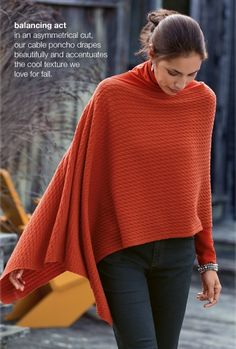 wish i could wear ponchos as chic as this. Great Fall look.