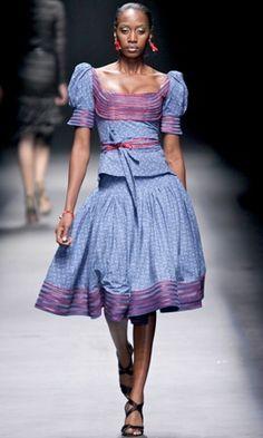 New Shweshwe Designs traditional african dress 2015 African Print Dresses, African Dresses For Women, African Wear, African Attire, African Prints, African Women, African Inspired Fashion, Africa Fashion, Fashion Designer
