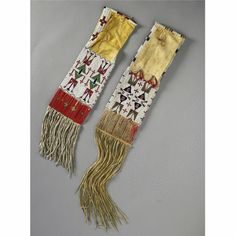 Two Central Plains Beaded and Quilled Hide Tobacco Bags   Lot   Sotheby's