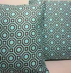 Set of 2 Mod Geometric Octagon Pillow Slip Covers by slipdesignhaus, $30.00  #mancave #homedesign #homedecor #pillow #upcycled #greenproducts #greendesign #handmade #madeinUSA #reclaimed #salvaged #tshirt #slipdesignhaus #slip #slipupcycledesign #modern #geometric #fabric