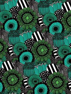 Green flowers for days as far as the eye can see x Marimekko Motifs Textiles, Textile Patterns, Textile Prints, Textile Design, Surface Pattern Design, Pattern Art, Deco Originale, Motif Floral, Marimekko