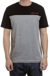 """The Hundreds Fiction T Shirt Black   Colorblocking returns this season with the """"Fiction"""" T-shirt, featuring contrast upper chest and sleeves. This ode to '90s stylings presents the """"Bar"""" logo embroidered at chest, an """"Adam Bomb"""" woven label at sleeve hem, and a """"Bar"""" logo woven label at side seam."""